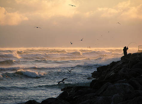 Cold November Sunrise With Birds And Fisherman by Julianne Felton