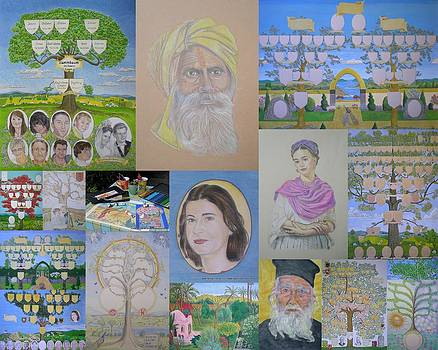 Collage of family trees and portraits created by www.family-tree-art.com by Alix Mordant