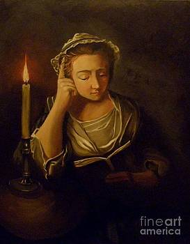Colonial girl reading by candle light by Robert Arsenault