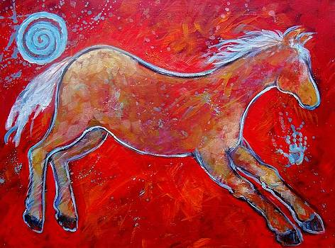 Color Horse Red Running lll by Carol Suzanne Niebuhr