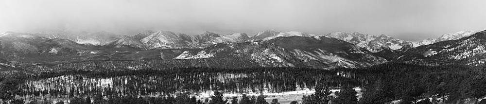 James BO  Insogna - Colorado Rocky Mountain National Park Panorama Winter View BW
