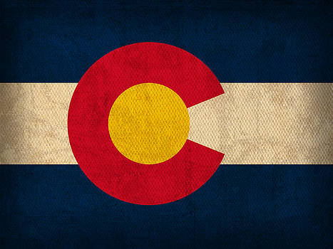 Design Turnpike - Colorado State Flag Art on Worn Canvas