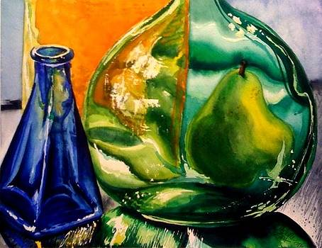 Colored Bottles and Pear by Michelle East