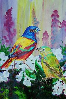 Colored Bunting Pair by Carolyn Valcourt