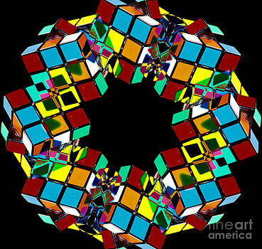 Beverly Claire Kaiya - Colorful Abstract Rubiks Cube Wreath