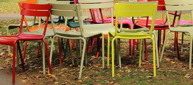 Colorful Chairs in Harvard Yard by Ellen Ryan