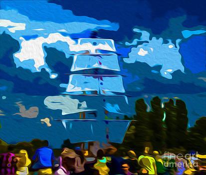 Algirdas Lukas - Colorful crowd and Blue Sails