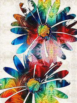 Sharon Cummings - Colorful Daisy Art - Hip Daisies - By Sharon Cummings