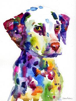 Svetlana Novikova - Colorful Dalmatian puppy dog portrait art