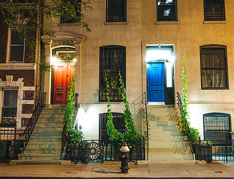 Colorful Doors at Night - New York City by Vivienne Gucwa