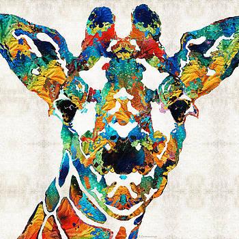 Colorful Giraffe Art - Curious - By Sharon Cummings by Sharon Cummings