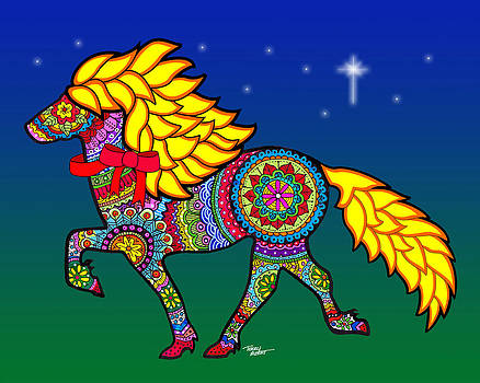Colorful horse tangle design by Terry Albert