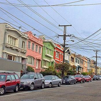 Colorful Houses On San Francisco Slopes by Karen Winokan