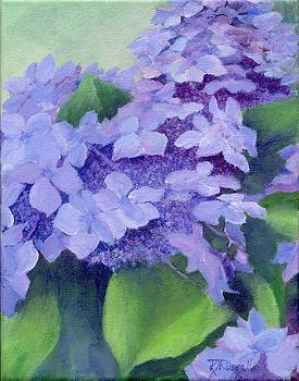 Colorful Hydrangeas Original Purple Floral Art Painting Garden Flower Floral Artist K. Joann Russell by Elizabeth Sawyer