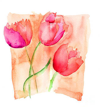 Colorful illustration of red tulips flowers  by Regina Jershova