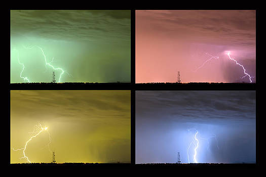 James BO  Insogna - Colorful Lightning Thunderstorm Collage