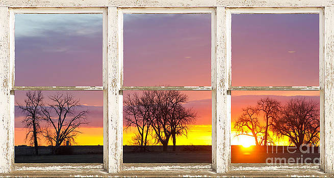 James BO  Insogna - Colorful Morning White Rustic Barn Picture Window Frame View