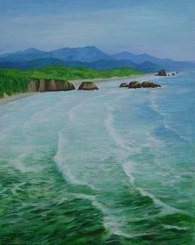 Colorful Seascape Oregon Cannon Beach Ecola Landscape Art Painting by Elizabeth Sawyer
