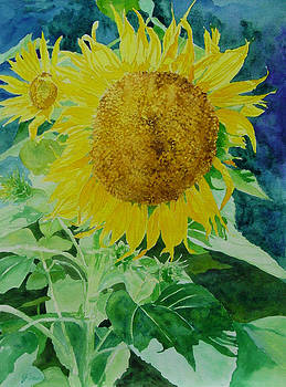 Colorful Sunflowers Watercolor Original Sunflower Art by Elizabeth Sawyer