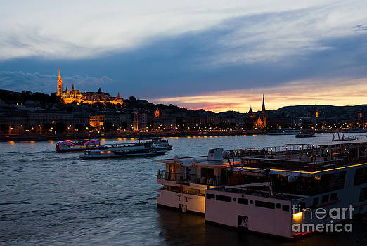 Colorful Sunset in Budapest with a Panoramic view of the river D by Kiril Stanchev