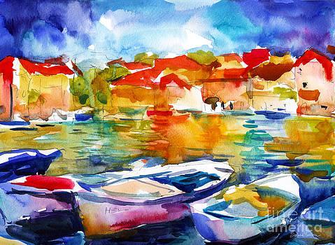 Svetlana Novikova - Colorful watercolor boats european water scape