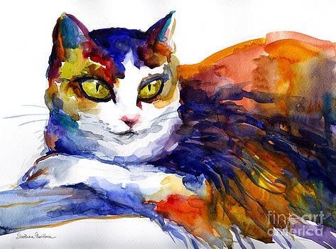 Colorful Watercolor Cat On A Tree Painting by Svetlana Novikova