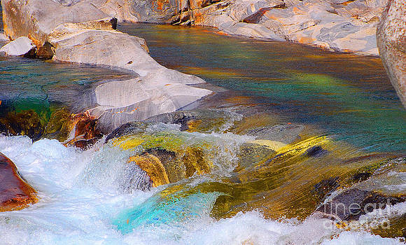 Colorfull water of the river Verzasca by Lilianna Sokolowska