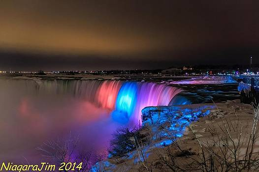 Coloured Lights on Horseshoe Falls by Jim Koniar