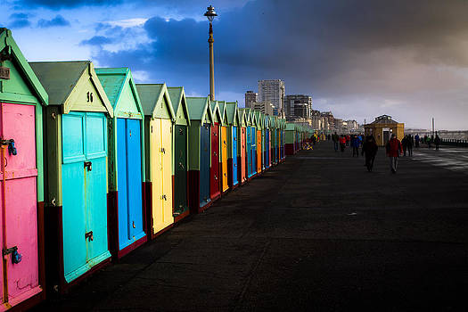 Colourful beach huts by Matthew Bruce