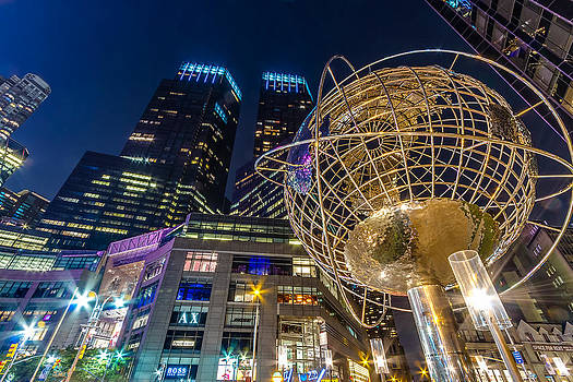 Val Black Russian Tourchin - Columbus Circle Globe and Time Warner Towers at Night