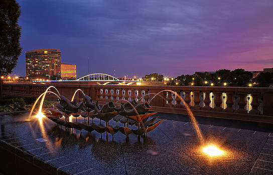 Columbus Scioto Mile at night I by Dick Wood