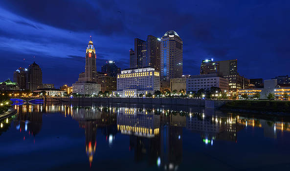 Columbus skyline at twilight by Dick Wood