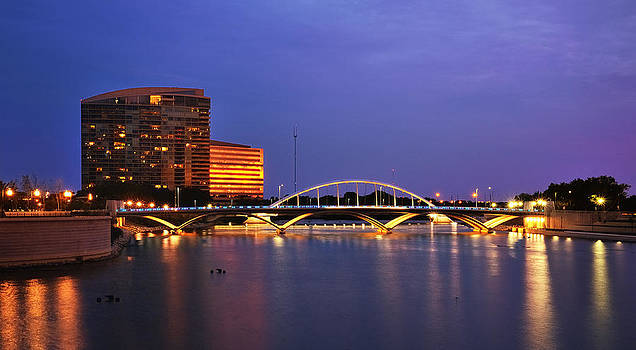 Columbus skylineT own St. Bridge at night by Dick Wood