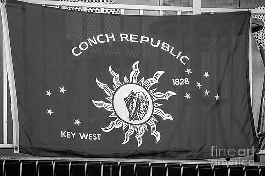 Ian Monk - Conch Republic Flag Key West - Black and White