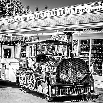 Ian Monk - Conch Tour Train 2 Key West - Square - Black and White
