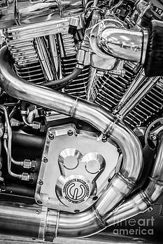 Ian Monk - Confederate Motorcycle B120 Wraith Engine and Exhaust Pipe 2 - Black and White