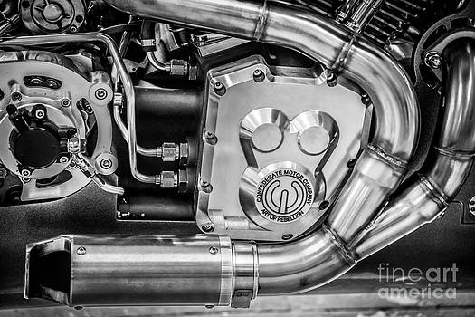 Ian Monk - Confederate Motorcycle B120 Wraith Engine and Exhaust Pipe - Black and White