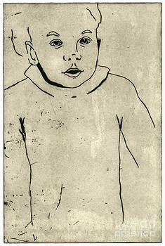 Confidence - Portrait Of A Child - Childrens World - Childs Expression - Etching by Urft Valley Art