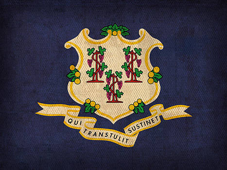 Design Turnpike - Connecticut State Flag Art on Worn Canvas