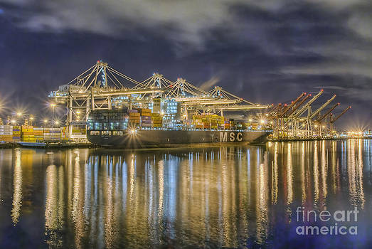 Container Ship at Night by Nick Carlson
