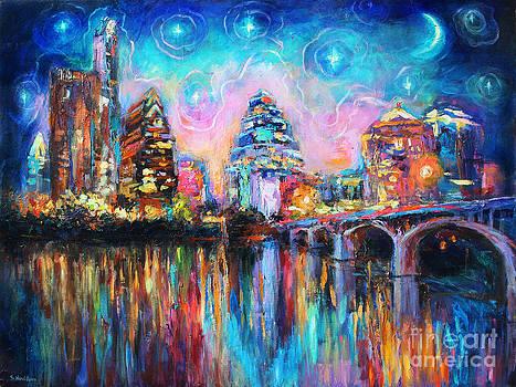 Svetlana Novikova - Contemporary Downtown Austin Art painting Night Skyline Cityscape painting Texas