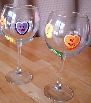 Conversation Hearts Wine Glasses by Sarah Grangier