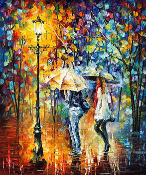 Conversation - PALETTE KNIFE Oil Painting On Canvas By Leonid Afremov by Leonid Afremov