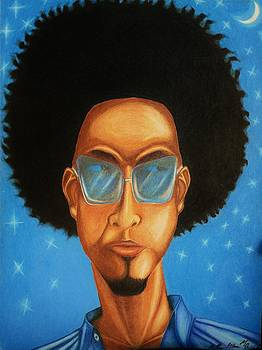Cool Blue Night- Urban hip-hop figurative art by Millian Glenn