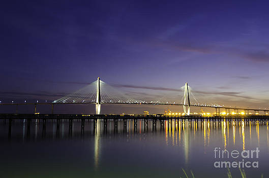 Dale Powell - Cooper River Bridge Lights Glowing