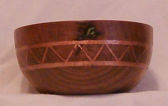 Copper Inlayed Avocado Bowl II by Russell Ellingsworth