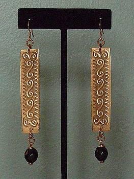 Copper Onyx Earrings by Ann Mooney