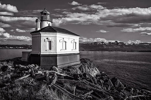 Coquille River Lighthouse Upriver BW by Joe Hudspeth