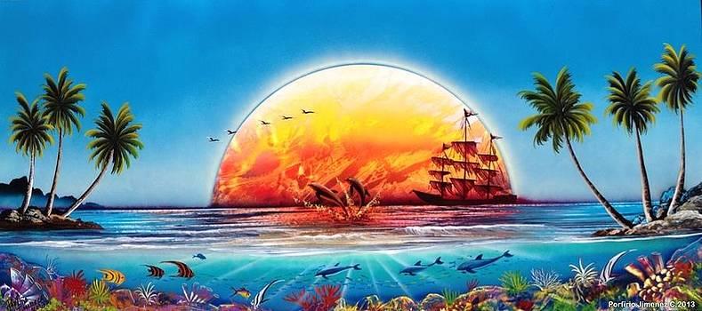 Coral reef sunset by Porfirio Jimenez