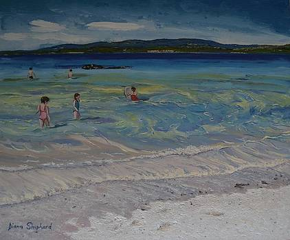 Coral Strand swimmers Connemara Ireland by Diana Shephard